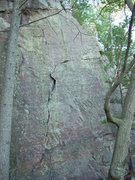 Rock Climbing Photo: Green Ledges follows the three camo'd ledges up th...