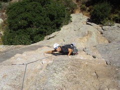 Rock Climbing Photo: Vickie grabs the lower rail at the crux of the cli...