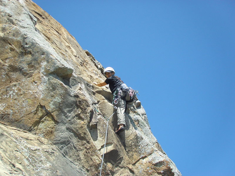 Rock Climbing Photo: Vickie on the Letterman variation. Clip a bolt the...