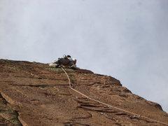 Rock Climbing Photo: Chris high up on C++