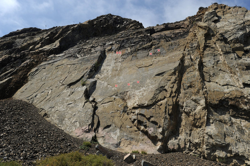 Rock Climbing Photo: Route topo for Classic Dihedral, at Mugu Slab.  In...