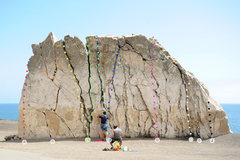 Rock Climbing Photo: Route Topo, Mugu Rock  A: Arete (5.9+) B: Crack (5...