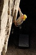 Rock Climbing Photo: Josh climbs through the start of the 5.11, at Mugu...