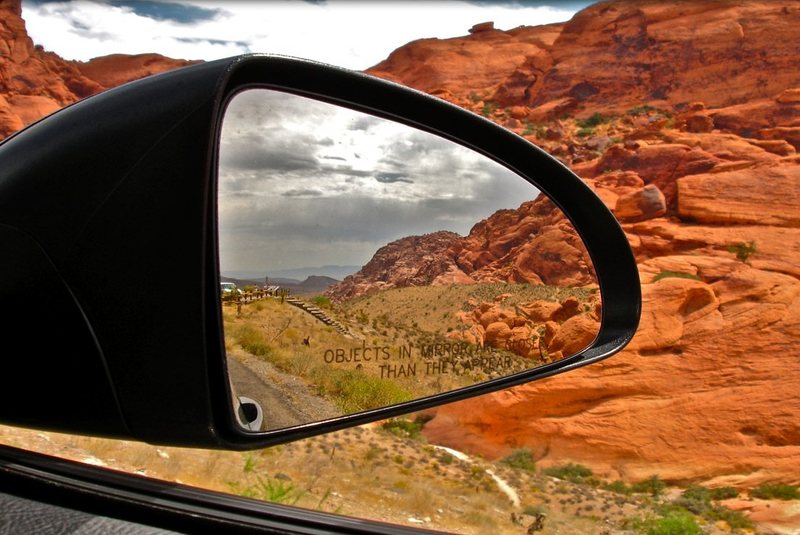 in the rearview of the rental.