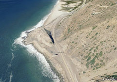 Rock Climbing Photo: Aerial view of Point Mugu, showing the large parki...