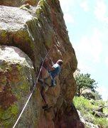 Rock Climbing Photo: John Langston leading the crux pitch.  This photo ...