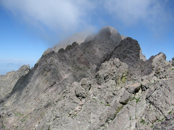 A look back at Crestone Peak from near the top of the Needle.