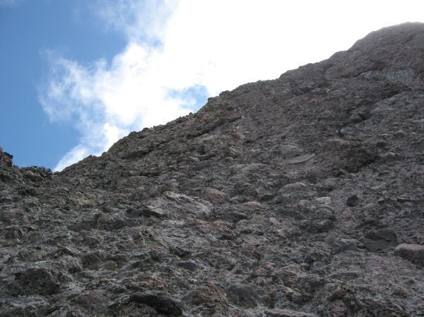 Looking up at the crux.