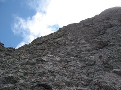 Rock Climbing Photo: Looking up at the crux.