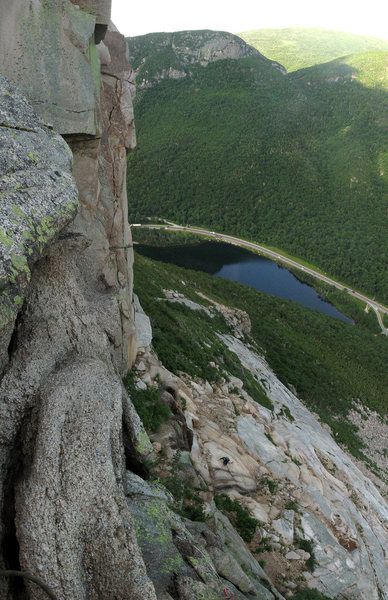A panoramic taken from the second to last belay, looking down at the follower approaching lunch ledge.
