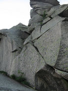 Rock Climbing Photo: Looking up at the final pitch.  The flake that lea...