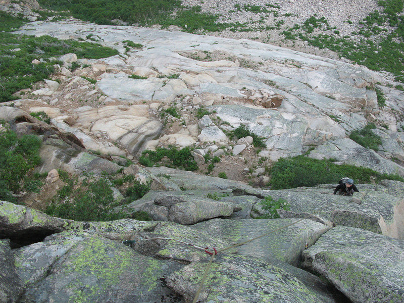 Rock Climbing Photo: Looking down the fun cracks on the second-to-last ...