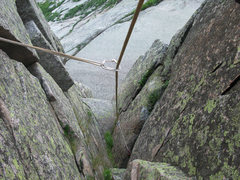Rock Climbing Photo: Looking down the corner on the last pitch.  The fl...