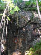 Rock Climbing Photo: Swamp Monster- starting foot in blue, starting han...