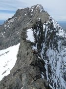 Rock Climbing Photo: Me on the snowy traverse in early June.  Photo by ...