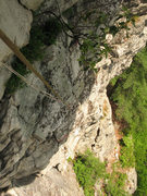 Rock Climbing Photo: Looking down from the crux of P2.