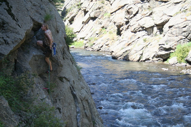 T. Melin tries his hand at climbing in Colorado.