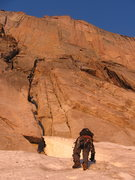 Rock Climbing Photo: SteveZ finishing off the approach to the Diamond a...