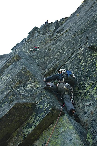 The crux pitch on the Pinnacle. Mt. Washington, NH.