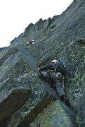 Rock Climbing Photo: The crux pitch on the Pinnacle. Mt. Washington, NH...