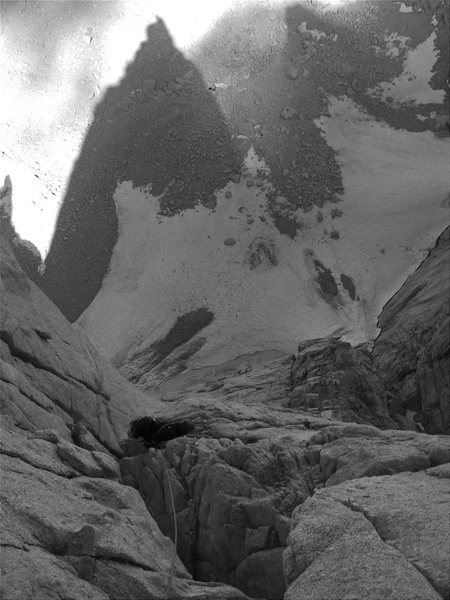 Rock Climbing Photo: Looking down at Keeler's shadow from the 10th bela...