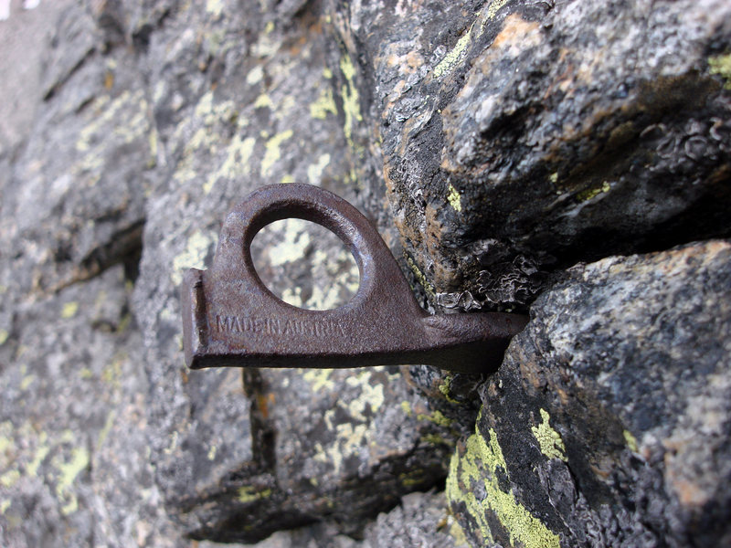 This is an old iron piton set in a crack at the top of the cliff formed by the south ridge of The Dark Tower.