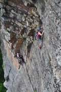 Rock Climbing Photo: Tricia starting up the big Gelsa corner.