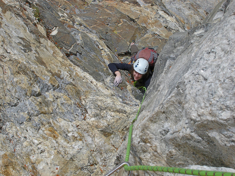Rock Climbing Photo: 5th pitch Sacco-Venzetti Memorial Route/ SW Face D...