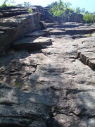 Rock Climbing Photo: Sixish, first pitch.  The block on the left is 5.6...