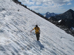 Rock Climbing Photo: Lluis crossing the snowfield to the East Col notch...