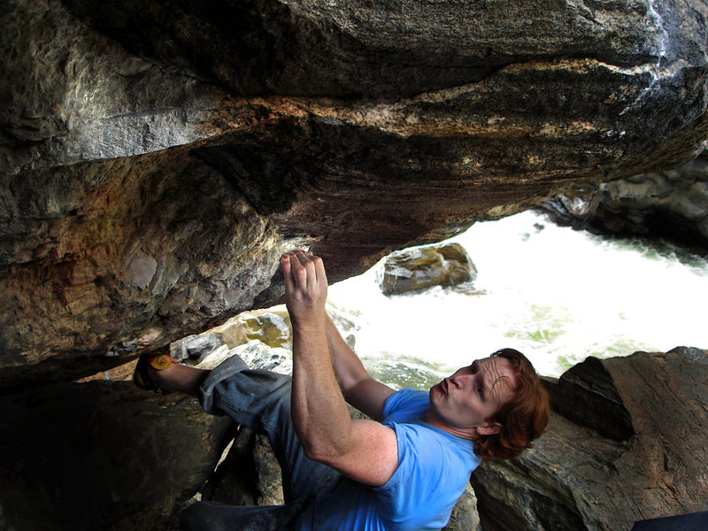 """Luke Childers working for the send on """"The Animal.""""  Clear Creek Canyon, Co.  Truly great bouldering to be had in this spectacular canyon!!!"""