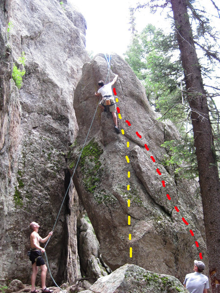 Rock Climbing Photo: Yellow is bolted route and about a 5.8. The Red is...