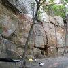 The Keyhole Cliff area: 1. [[Clune Crank (V1)]]106510911, 2. The All (V3), 3. [[Keyhole Crack Left (V0)]]106510929, 4. [[Keyhole Crack Right (V0)]]106510934, 5. Winter's Agony (V6), 6. [[Keyhole Offwidth (V0)]]106510918, 7. Cronin's Face (V9), 8. [[Gill Crack (V2)]]106514078, 9. Low Traverse (V2)
