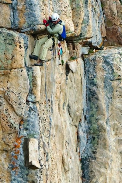 Rock Climbing Photo: Trundling a death block. Photo by Dan Gambino.