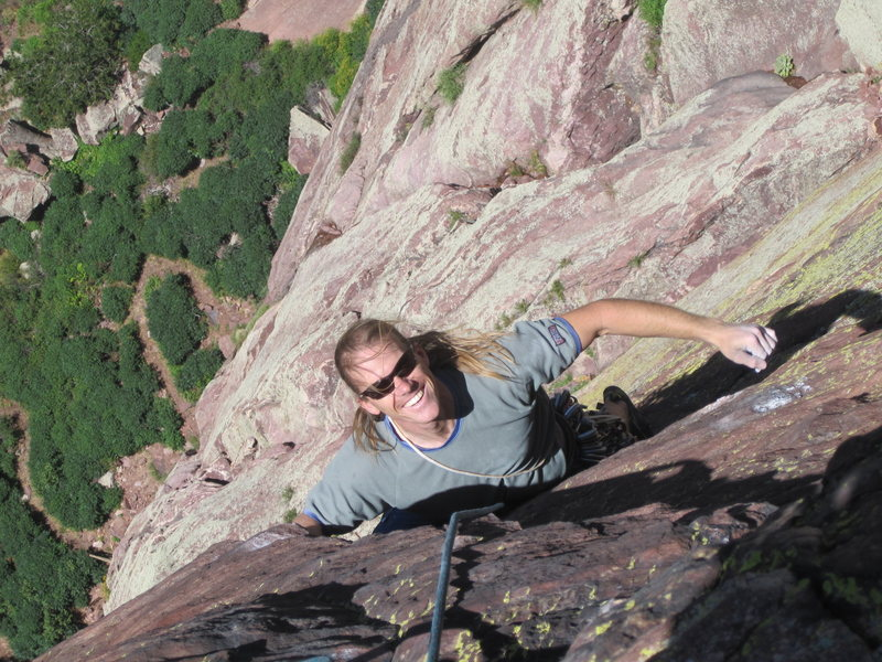 Ben Walburn enjoying the second pitch of the Naked Edge.