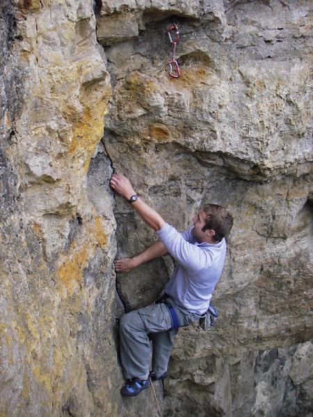 Rock Climbing Photo: Near the top of Perfect Crimb