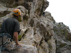 Rock Climbing Photo: Court leading 5.7 roof pitch.