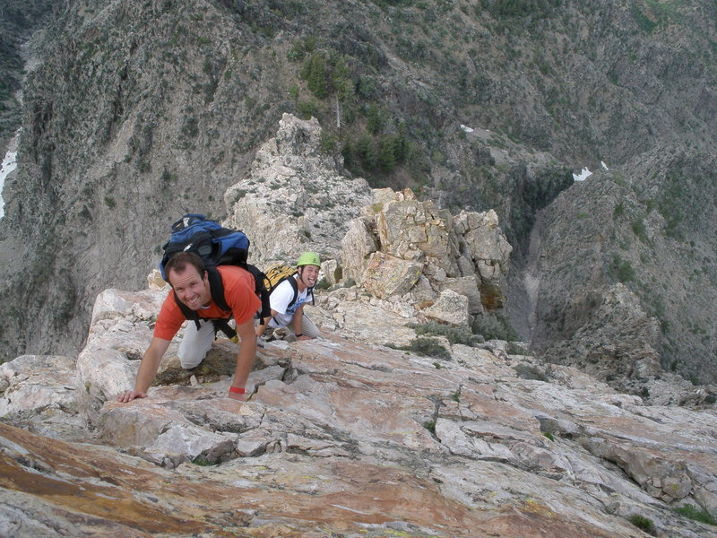 Rock Climbing Photo: Court and Steve soloing somewhere along the upper ...
