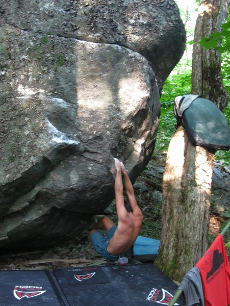 Steve Lovelace, circa 2008, attempting &quot;Fangorn&quot;   (V-4/5),Wild Wood, Grayson Highlands State Park.<br> <br>