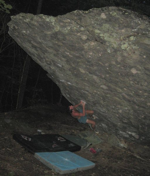 "Steven Lovelace on ""Front Man"" (V-4+), AVP Boulder, grayson Highlands."