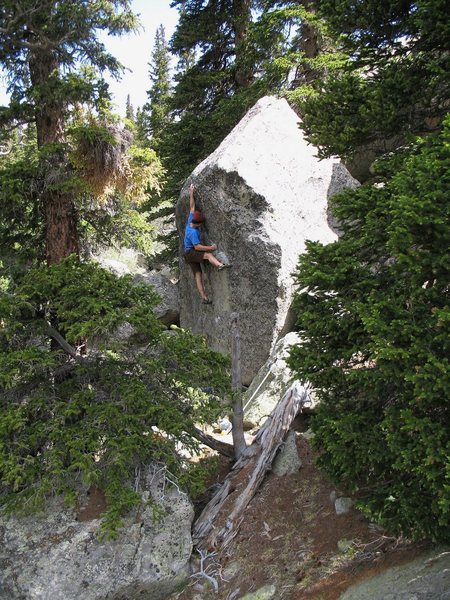 Rock Climbing Photo: Mike Greenfield on Dark Crystal.