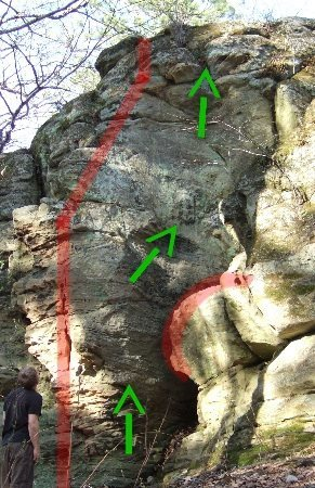 Rock Climbing Photo: stay between the red lines and go up up up and out...