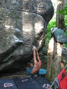 "Rock Climbing Photo: Steve Lovelace at the start to ""Badger"" ..."