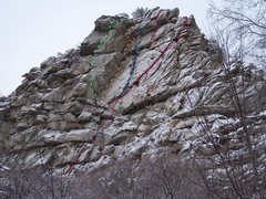Rock Climbing Photo: Heart attack goes up the blue route