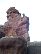 Rock Climbing Photo: Me near the top of Chili Cook Off. Photo by Christ...