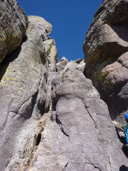 Rock Climbing Photo: Summit pitch, 5.3, on Dallas Peak's North Face.