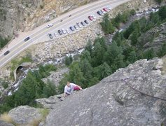 Rock Climbing Photo: Caolan finishing up the last pitch as the thunder ...