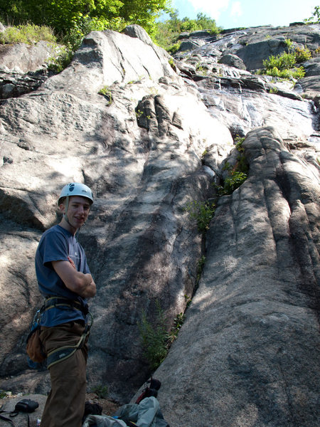 Rock Climbing Photo: Isaac at the start of the climb. The first two pit...