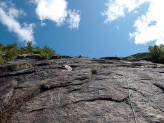 Rock Climbing Photo: Looking up pitch two, we went right to avoid the w...