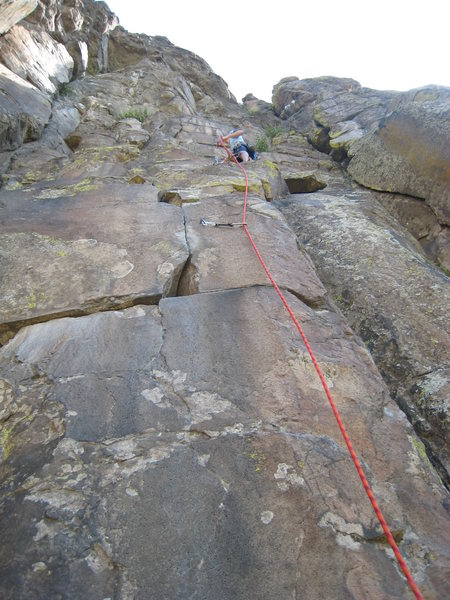 Rock Climbing Photo: Looking up the first two bolts to the first set of...